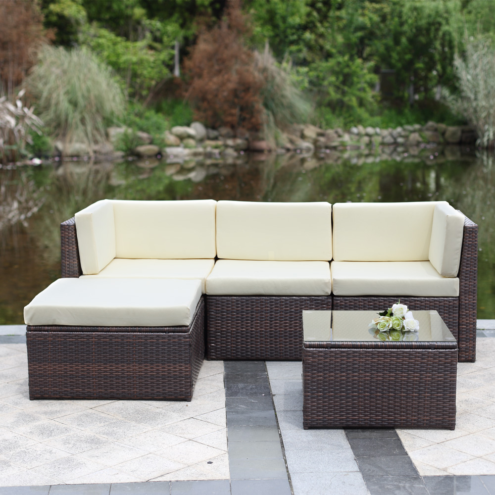 Garden Furniture Corner Sofa Ebay Ikayaa 5pcs Cushioned Outdoor Patio Garden Furniture Sofa Set Lovdock