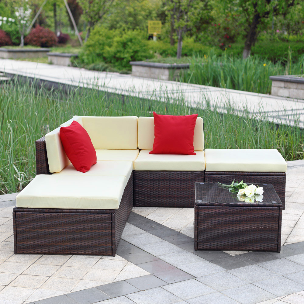 Garden Rattan Sofa Uk Brown Ikayaa 6pcs Outdoor Patio Garden Rattan Wicker Sectional Sofa Set Brown Lovdock