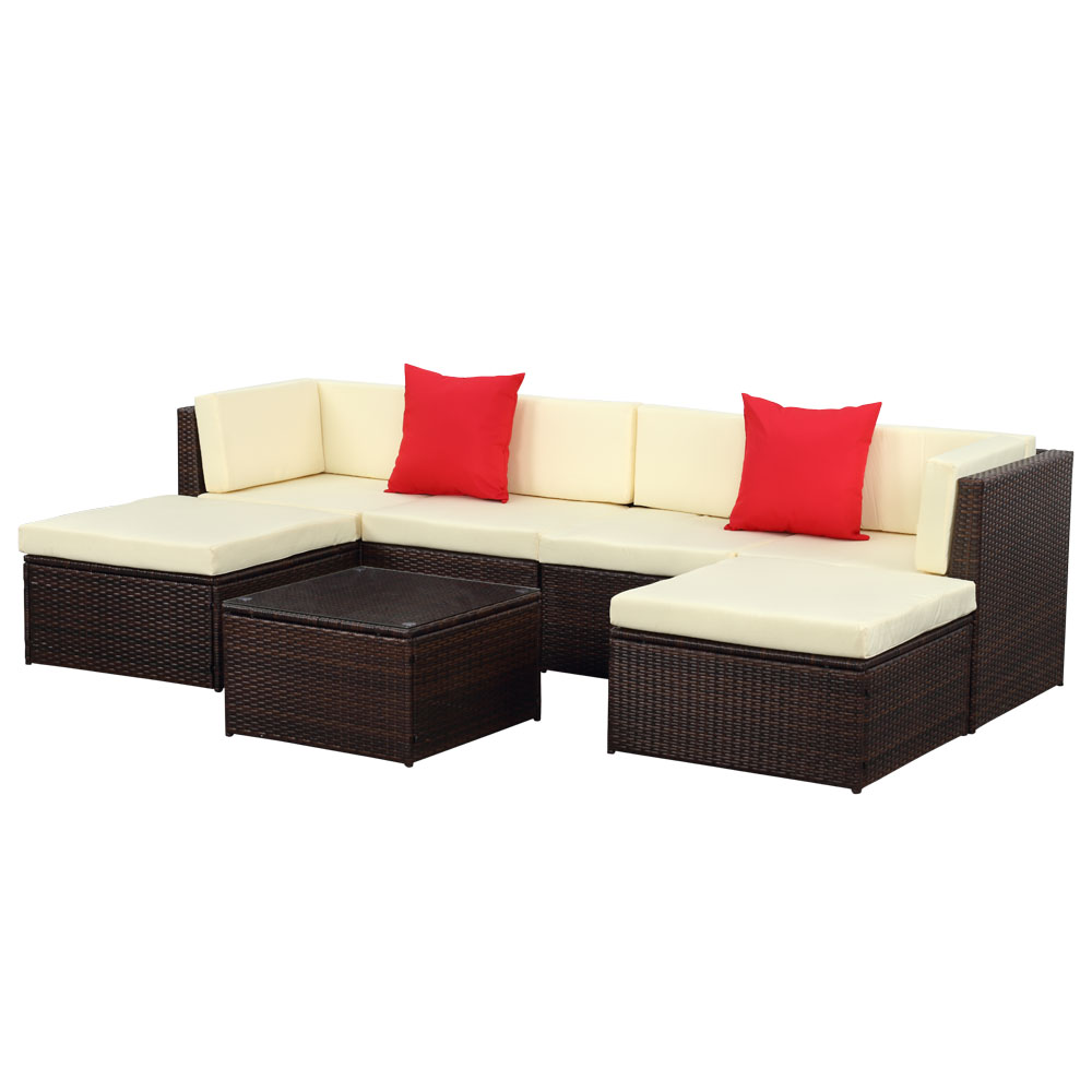 Sofa Rattan Brown Ikayaa 7pcs Outdoor Patio Garden Rattan Wicker Sectional Sofa Set Brown Lovdock