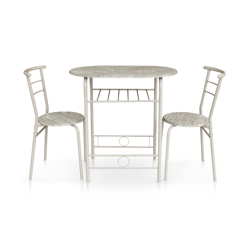 Table 2 Chaises Only 116 86 Ikayaa Modern Metal Frame 3pcs Ensemble De Table à Manger Avec 2 Chaises Lovdock
