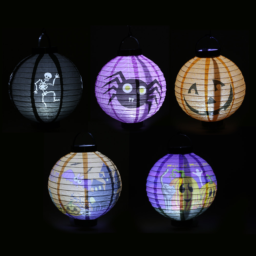 Led Halloween Lights 5pcs Set Foldable Halloween Paper With Led Lights Hanging Pumpkin Lanterns