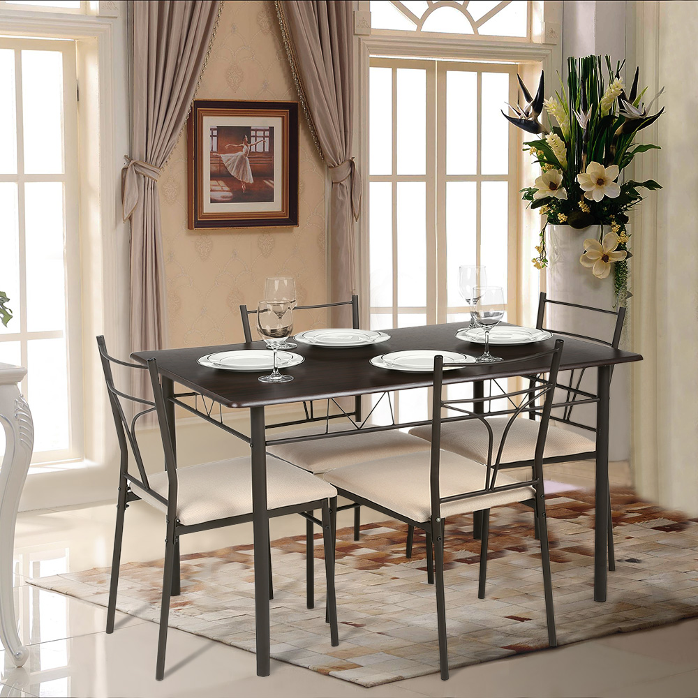 Modern Dining Table Chairs Brown Ikayaa Modern 5pcs Metal Frame Padded Dining Table Chairs Set Lovdock