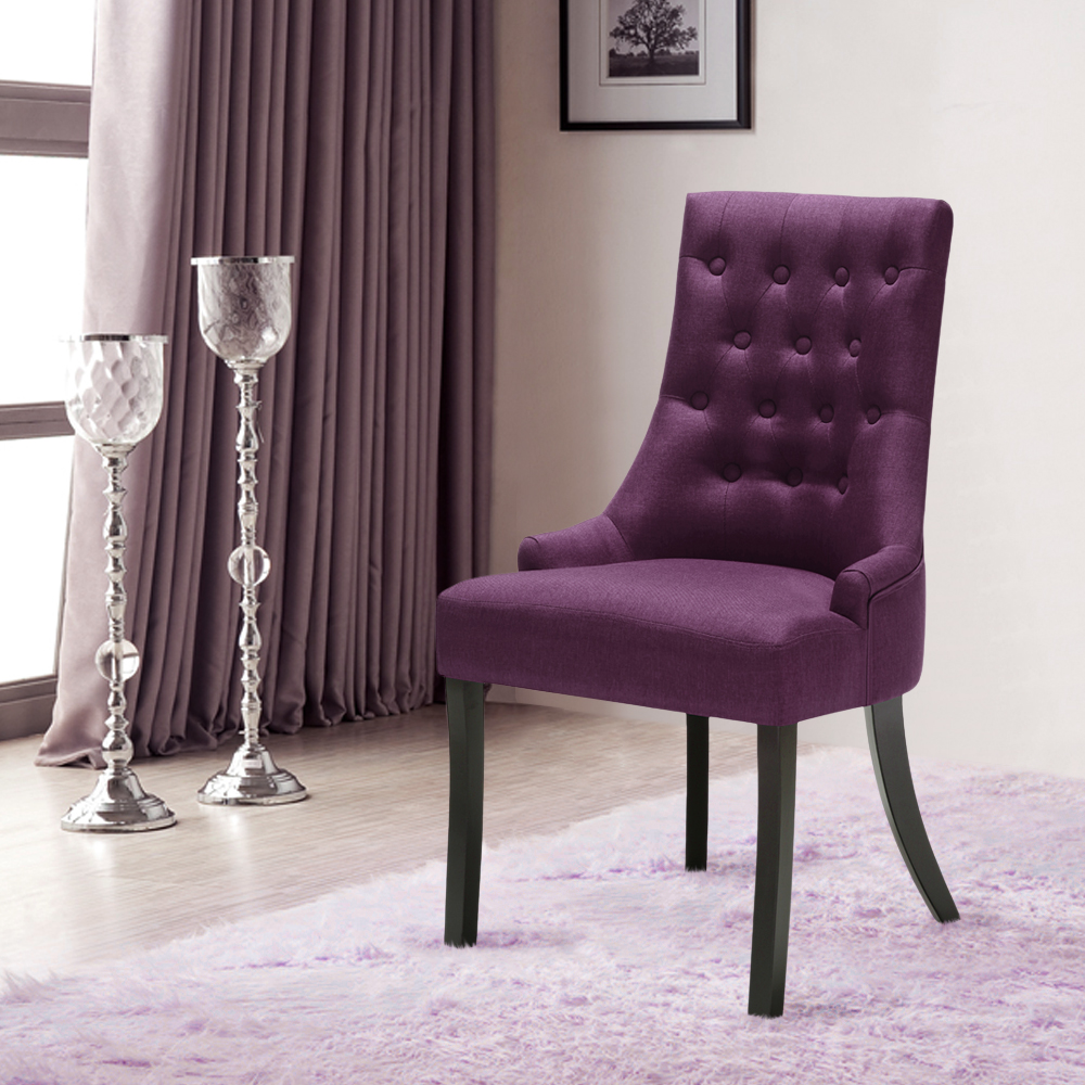 Patterned Dining Room Chairs Purple Ikayaa Accent Linen Fabric Dining Room Chair Lovdock