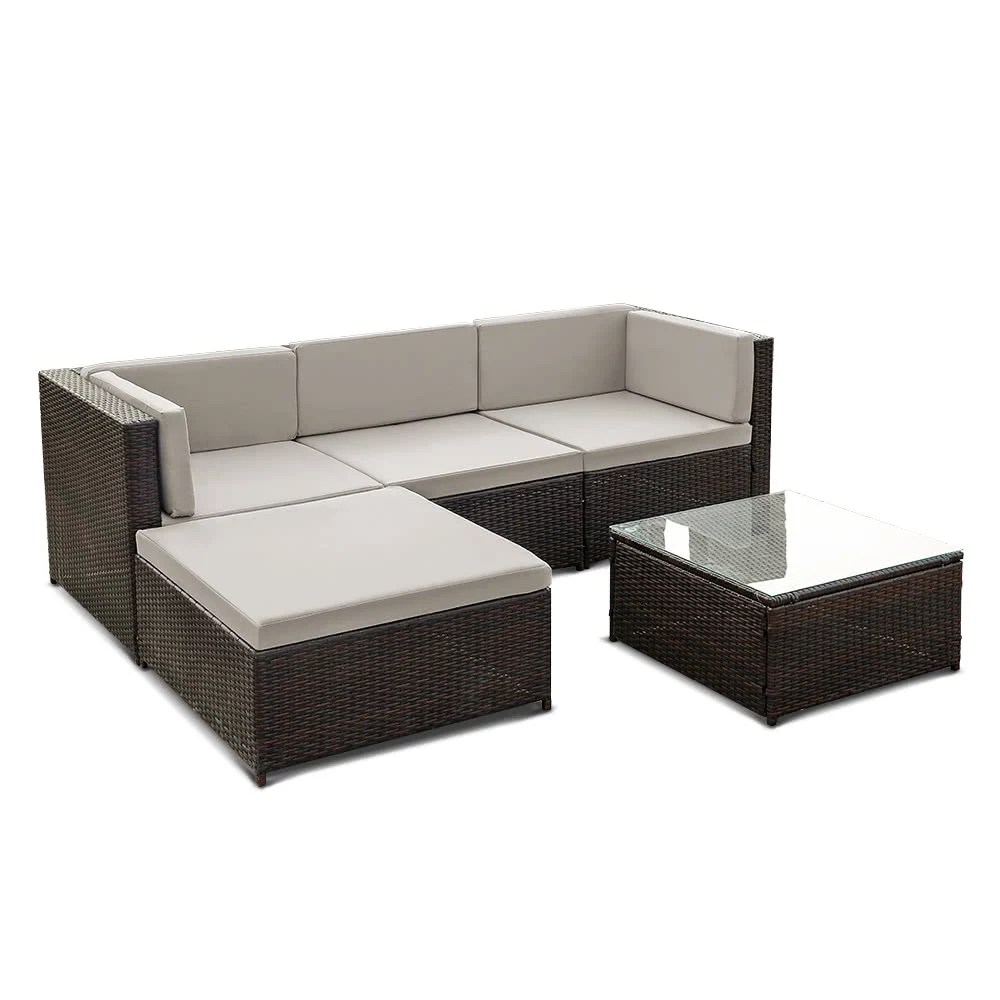 Rattan Corner Sofa Ireland Ikayaa Fashion Pe Rattan Wicker Patio Garden Furniture Sofa Set W Cushions Outdoor Corner Sofa Couch Table Set
