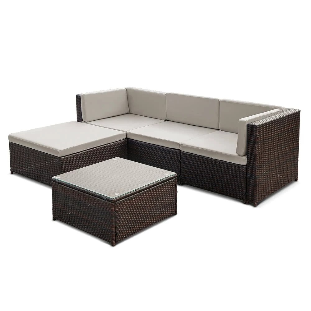Outdoor Sofa Rattan Ikayaa Fashion Pe Rattan Wicker Patio Garden Furniture Sofa Set W Cushions Outdoor Corner Sofa Couch Table Set
