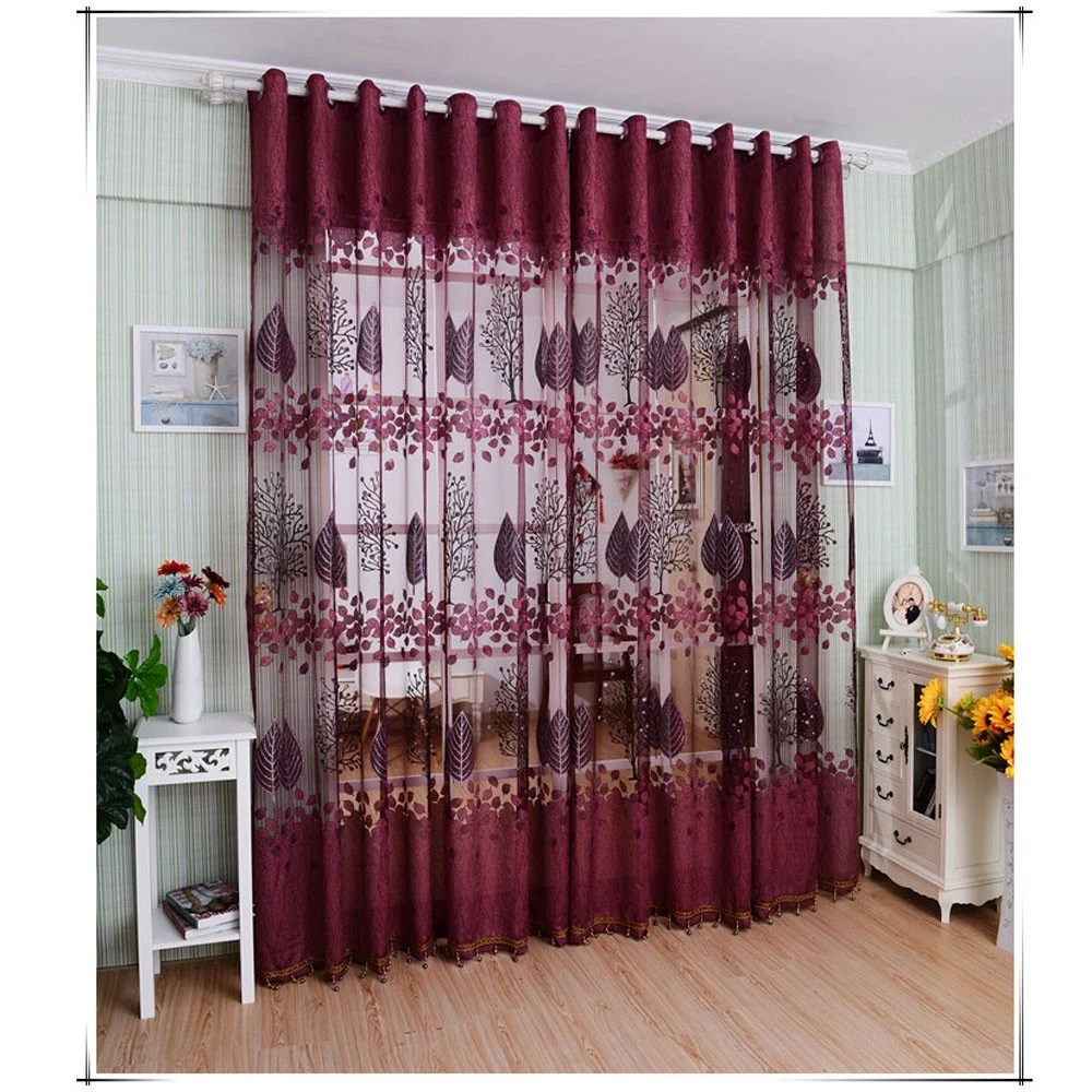 Chambre Best But European Top Grade Leaves Pattern Half Shading Burnt Out Curtain For Door Window Room Decoration Window Screening Pastoral Voile Curtains Bedroom
