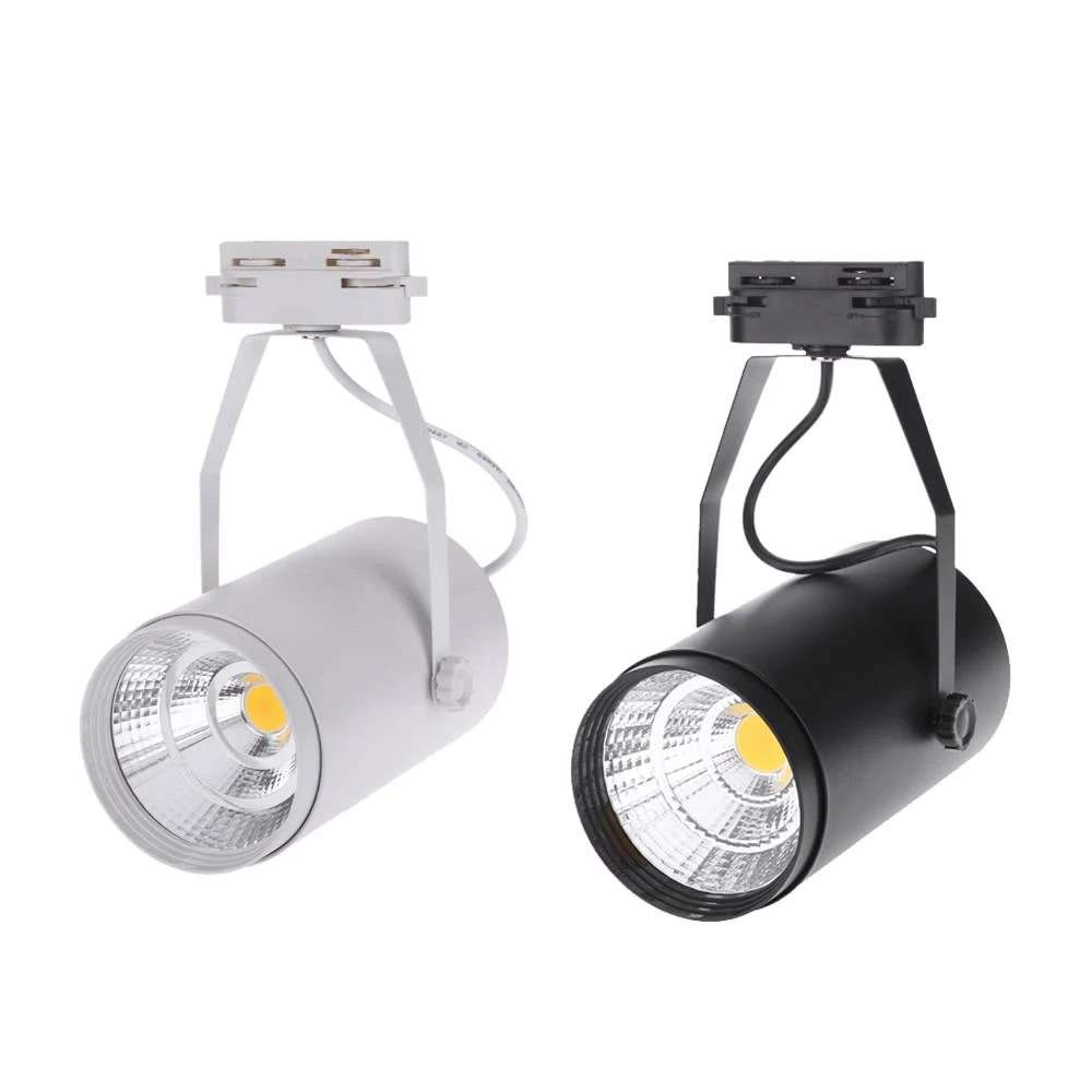 Spotlight Lamp 20w Ac85 265v 1800lm Cob Track Rail Led Light Spotlight Lamp Adjustable For Shopping Mall Clothes Store Exhibition Office Use Black