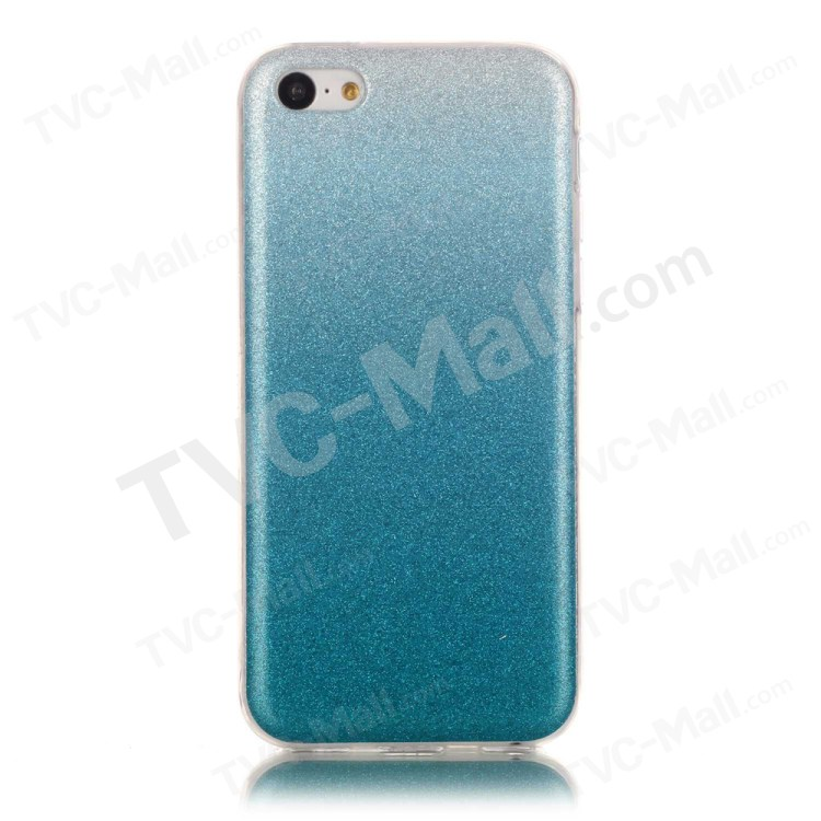 Gradient Color Glitter Powder IMD TPU Back Case for iPhone 5c - Baby