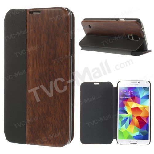 Black PU Leather + Real Wood Protective Case for Samsung Galaxy S5