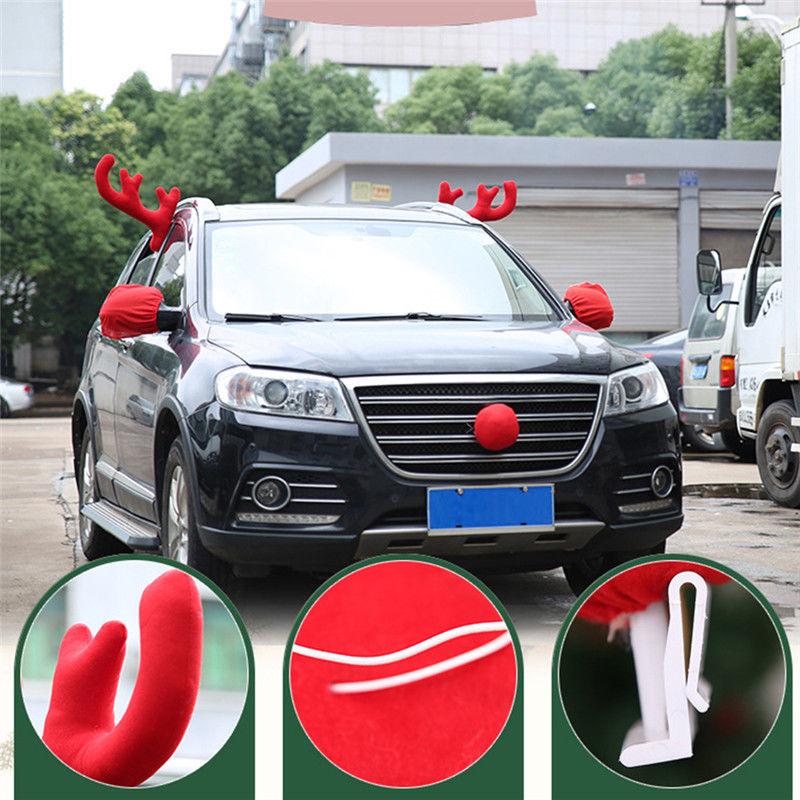 Christmas Reindeer Antlers Red Nose Car Vehicle Festive