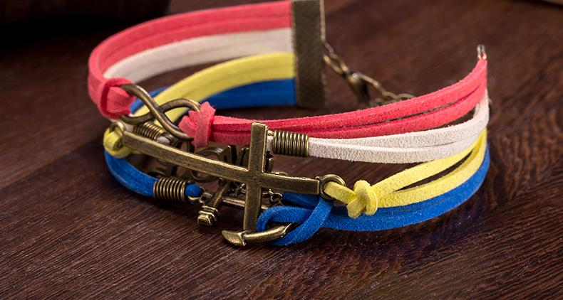 Fsh218 Love Anchor Decor Leather Band Charm Bracelet