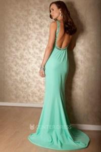 Floor-Length Sleeveless Beaded Strapped Chiffon Prom Dress ...