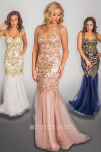 Sheath Sleeveless Beaded Long Strapped Tulle&Satin Prom ...