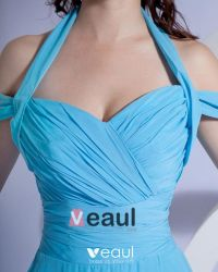 Satin Ruffle V Neck Halter Floor Length Bridesmaid Dress