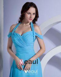 Satin Ruffle V Neck Halter Floor Length Bridesmaid Dress ...