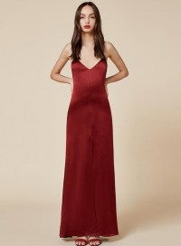 Spaghetti Strap High Slit Solid Maxi Prom Dress ...