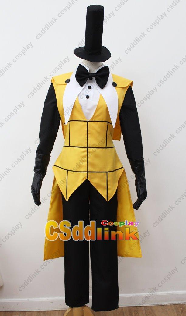 Bill Gravity Falls Wallpaper Bill Cipher Human Cosplay Costume Yellow With High Hat Ebay
