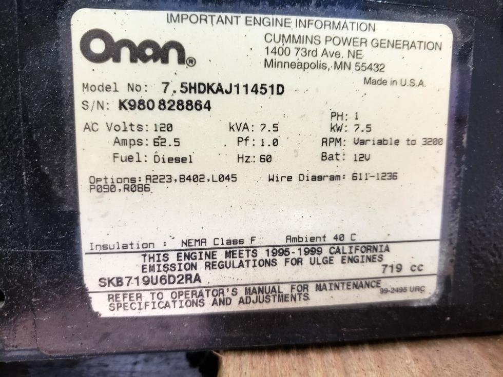 Generators USED RV ONAN QUIET DIESEL 7500 GENERATOR MOTORHOME PARTS