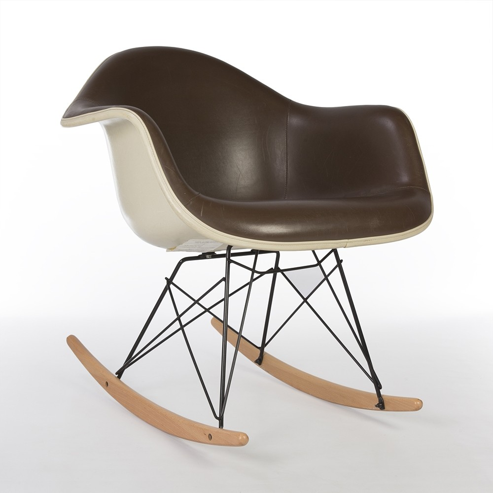 Eames Rar Original Herman Miller Brown Vinyl White Eames Rar Rocking Arm Chair