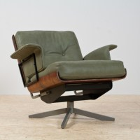 Mid-Century Modern Swivel Lounge Chair in Green Leather ...