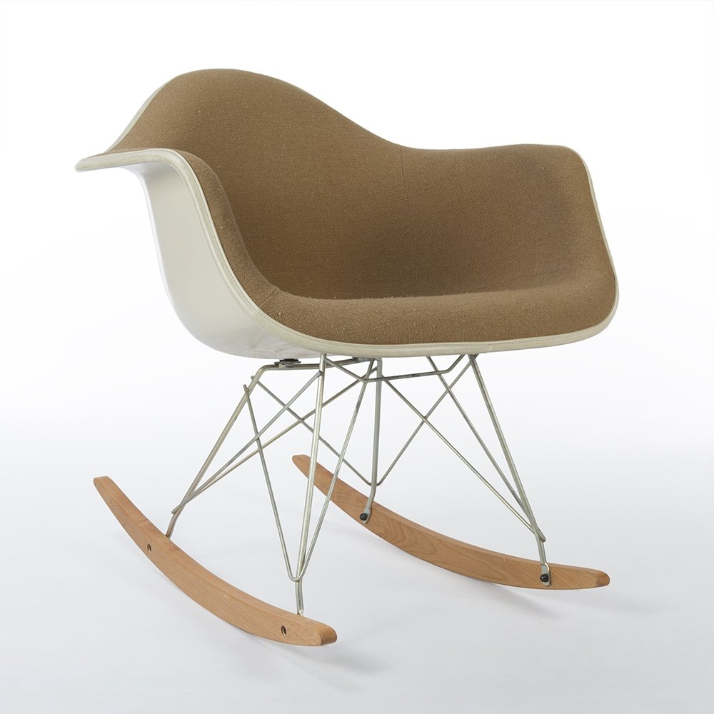 Eames Chair Beige Beige Fabric Herman Miller Original Vintage Eames Rar Rocking Arm Chair