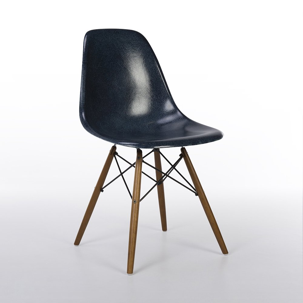 Chair Eames Navy Blue Herman Miller Original Vintage Eames Dsw Dining Side Chair | #126138