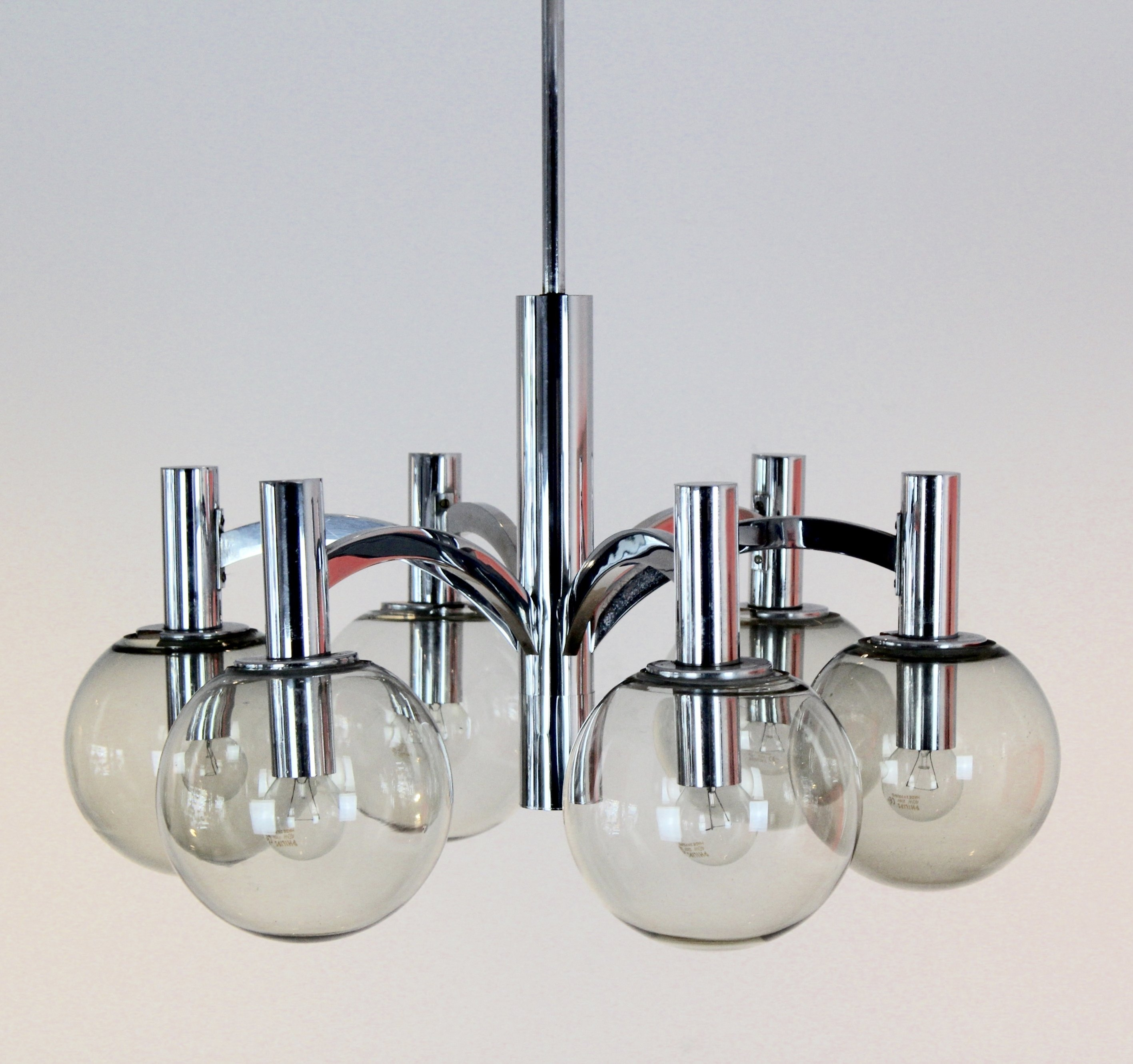 Leuchten Kaiser Chrome & Glass Chandelier By Kaiser Leuchten, Germany | #71864