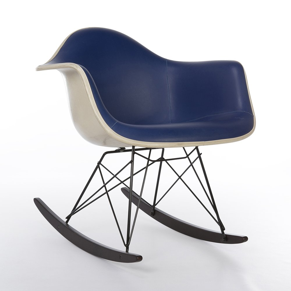 Eames Rar Original Blue Vinyl Herman Miller Eames Rar Rocking Arm Shell Chair