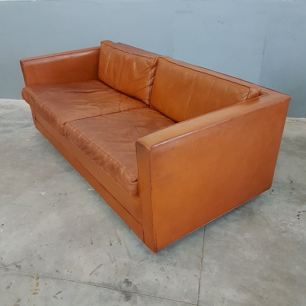 Pierre Paulin Sofa Cognac Leather Sofa By Pierre Paulin For Artifort 1960s 76010