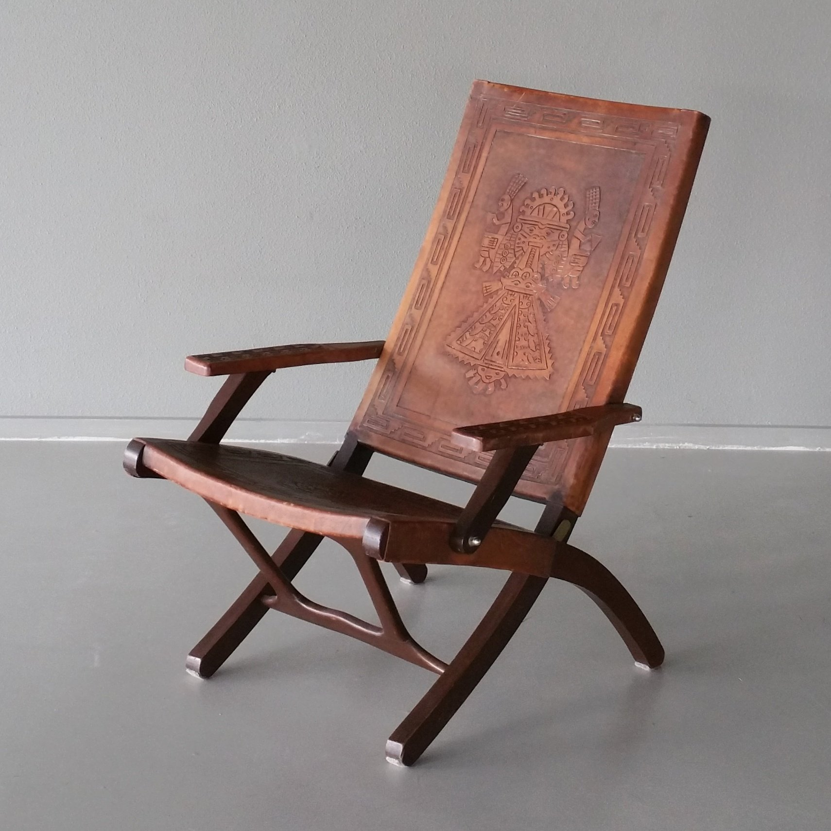 Life Muebles Leather Wood Folding Chair By Angel Pazmino For Muebles De