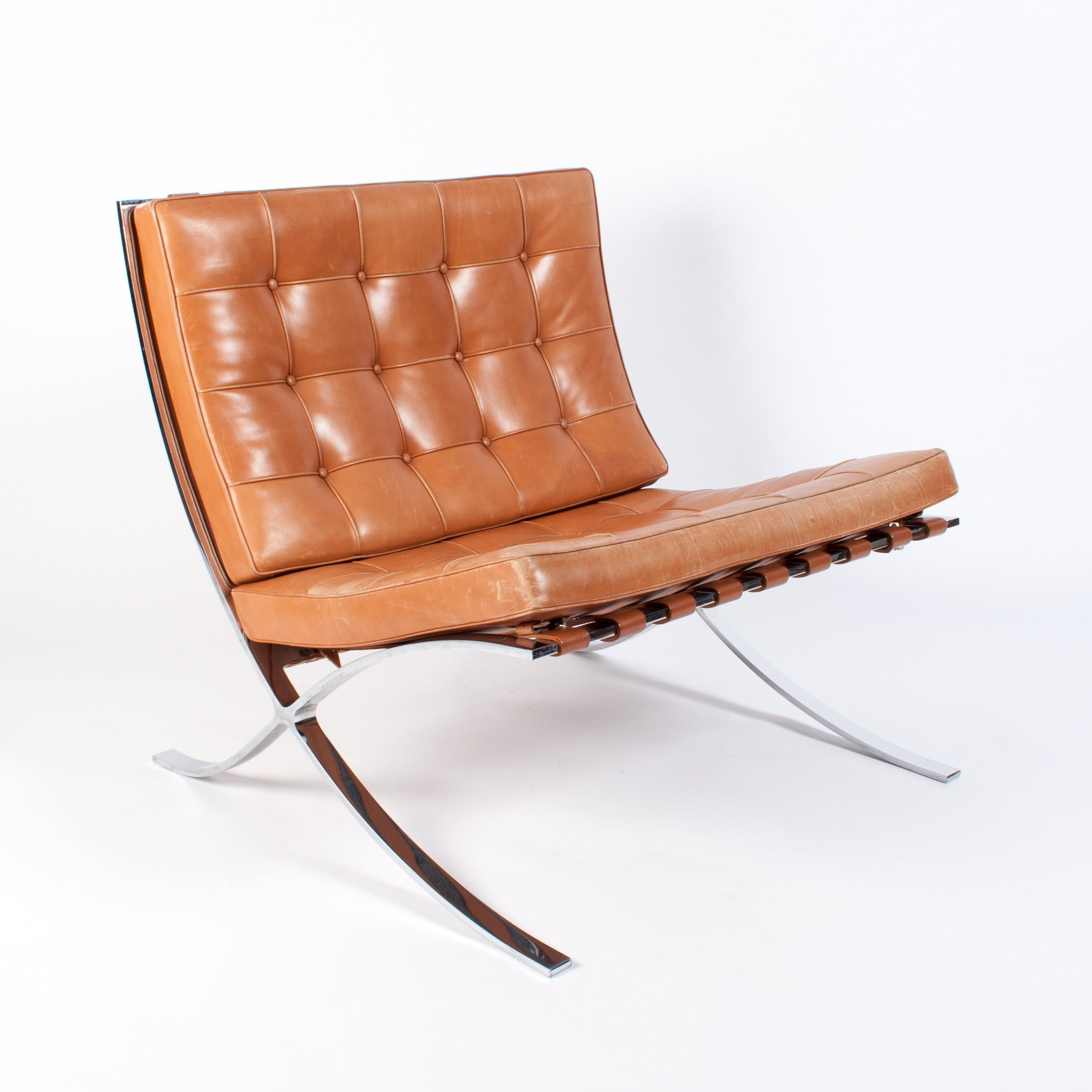 Cognac Leather Barcelona Chair By Ludwig Mies Van Der Rohe For Knoll 1990s 84021