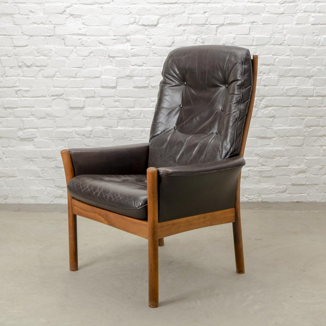 Scandinavian Möbel Scandinavian Design Brown Leather Lounge Chair By G Möbel Sweden 1960s