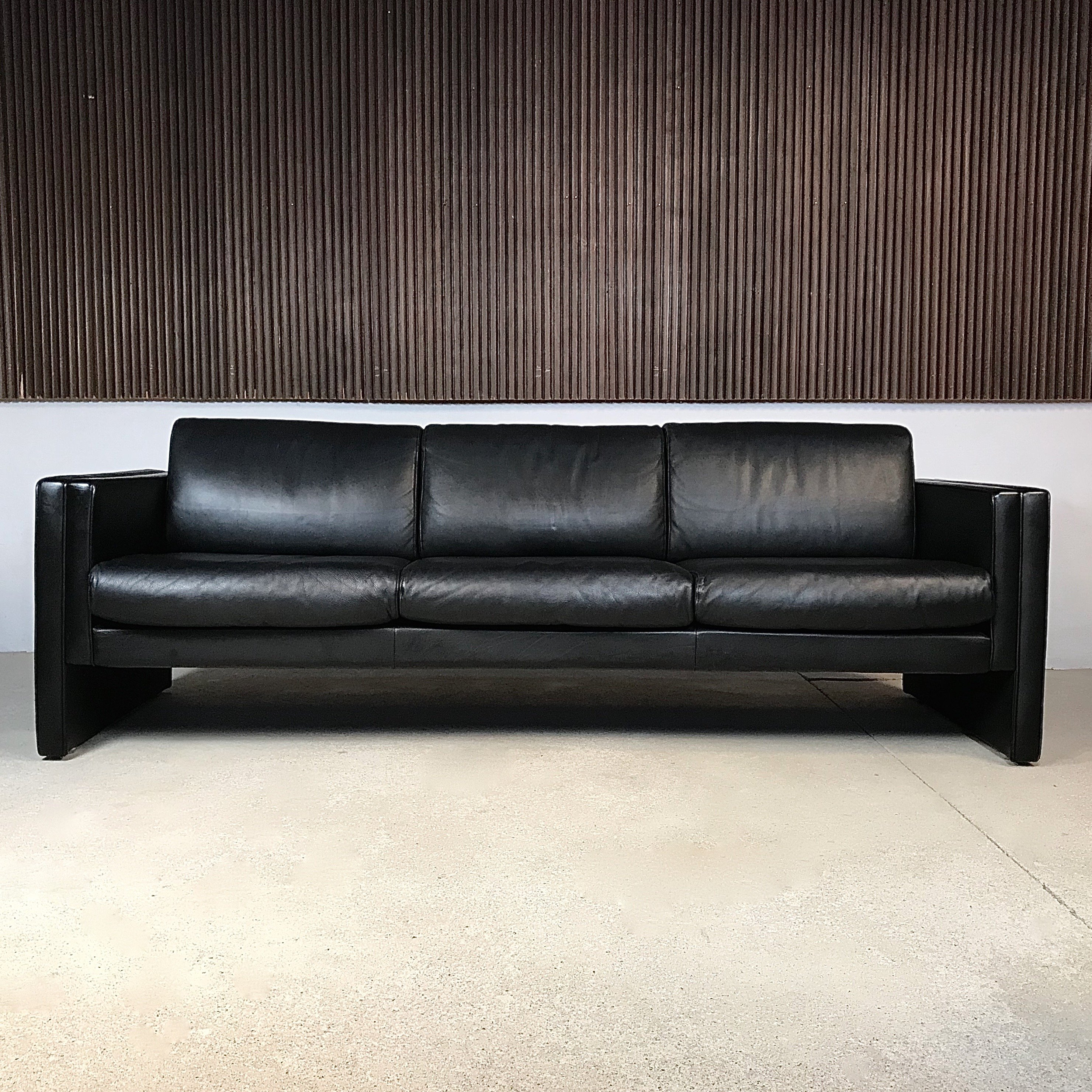 Walter Knoll Sofa Model Studio Black Leather Three Seater Sofa By Walter Knoll
