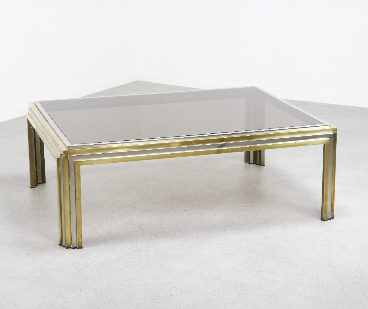 Sculptural Coffee Tables Large Sculptural Coffee Table In Brass And Chrome By Romeo
