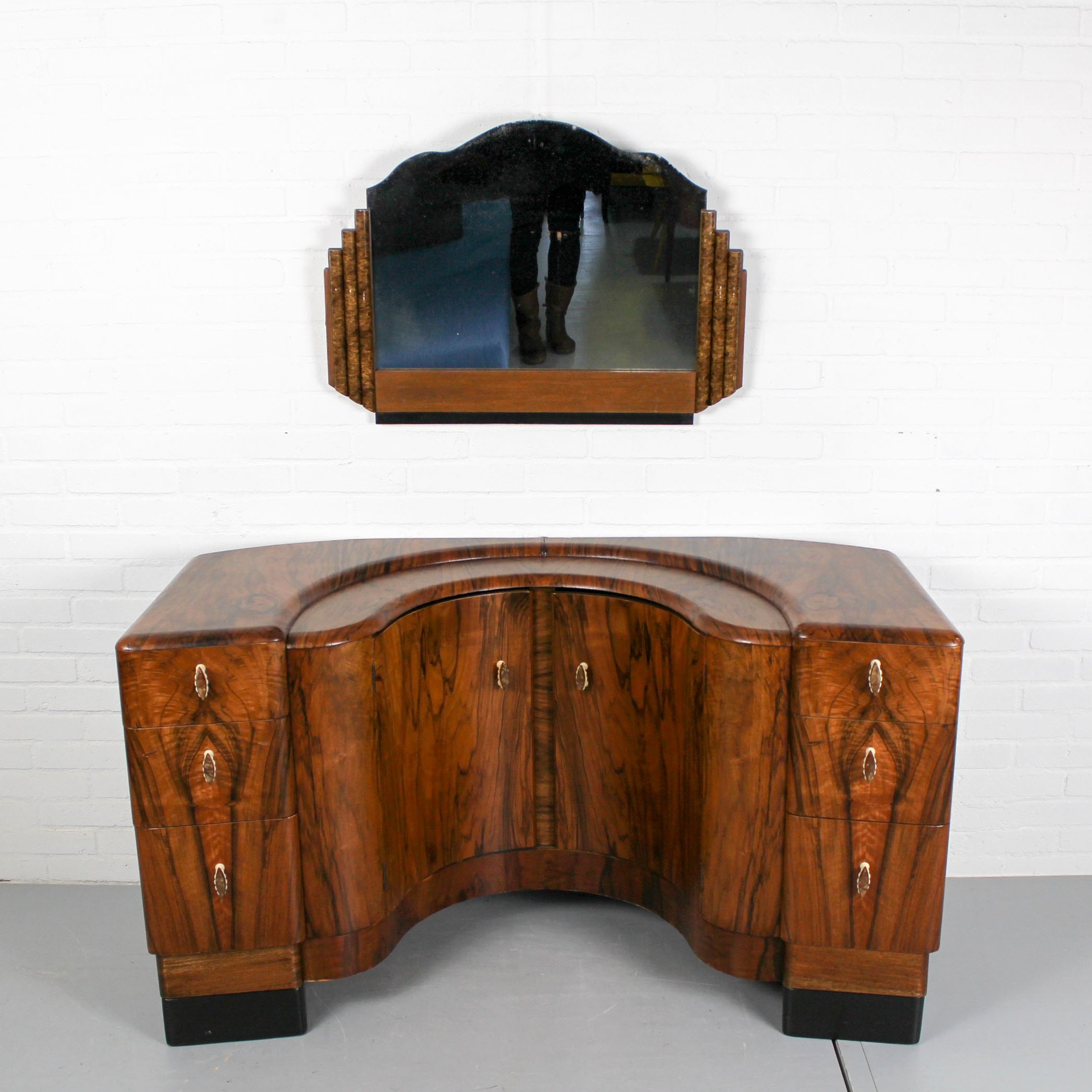 Art Deco Style Notebook English Art Deco Walnut Vanity Dressing Table 1940s 92712