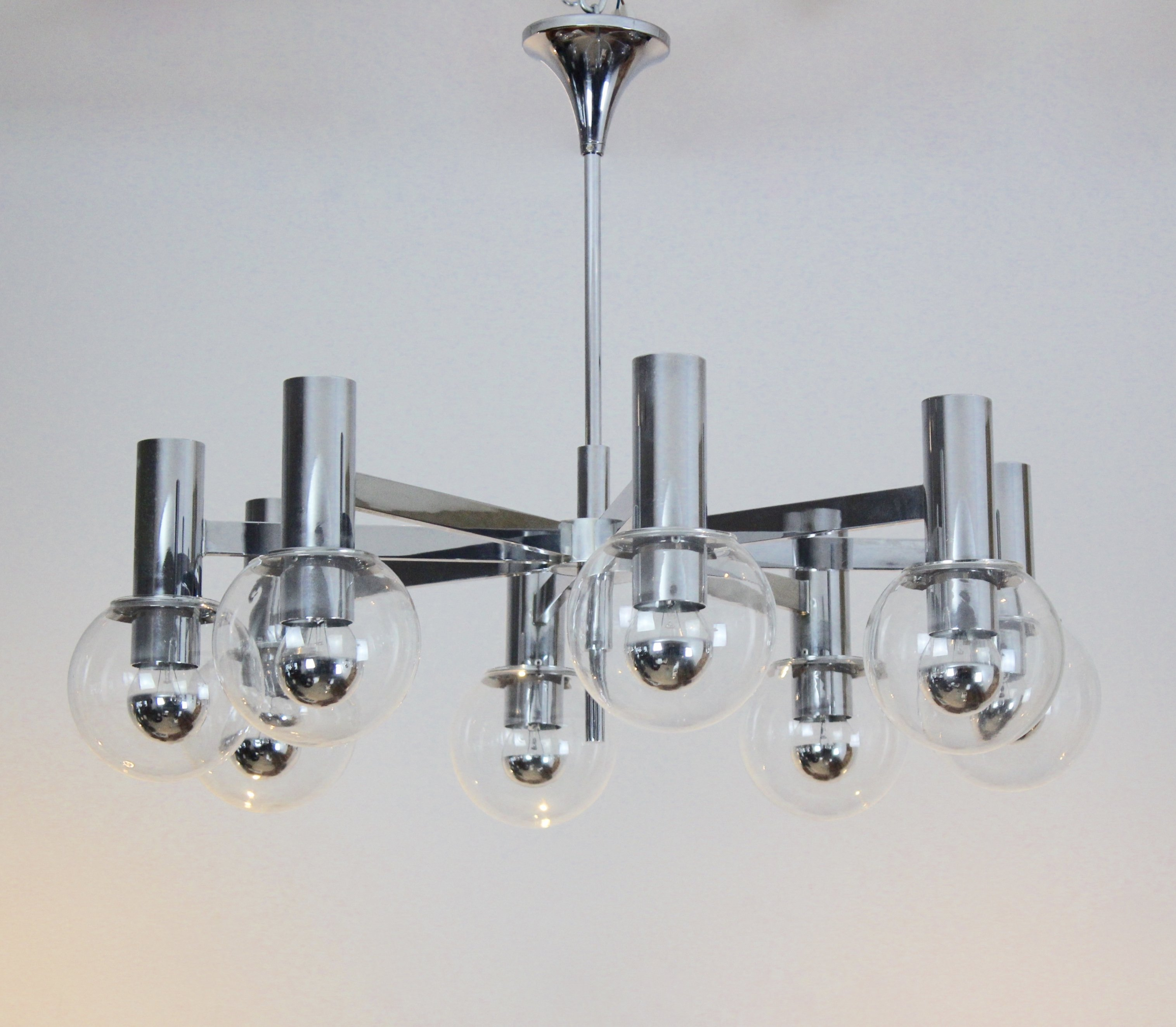 Leuchten Kaiser Elegant Chrome & Glass Chandelier By Kaiser Leuchten, Germany | #96553