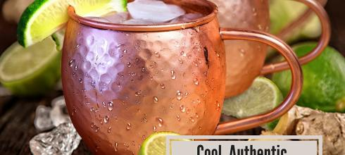 Set of 2 Moscow Mule Copper Mugs with Shot Glass