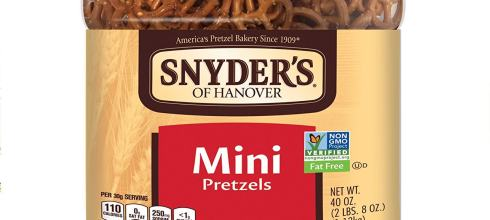 Snyder's of Hanover Mini Pretzels Canister, 40 Ounce