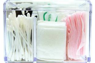 Moosy Life Acrylic 3 Partitions Bathroom Cotton Balls And Swabs Holder