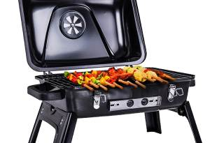 Pinty Portable Folding Charcoal Grill Carbon Steel Tabletop BBQ Grill for Outdoor Use