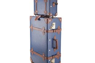 CO-Z Premium Vintage Luggage Sets 24″ Trolley Suitcase and 12″ Hand Bag Set with TSA Locks