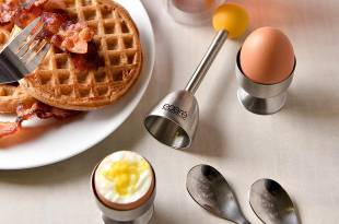 Eparé Egg Cracker Topper Set – Soft Hard Boiled Eggs Separator Tool – Include Spoons and Cups – Shell Remover & Cutter – Steel Spoon & Cup Holder – Cooker Accessory