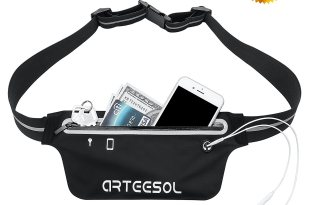 Running belt, ARTEESOL Zipper Pockets Water Resistant Waist Bag- Running Hiking Cycling Climbing – For iPhone X 8 8PLUS