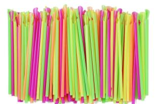 ALINK Assorted Neon Colors Sno-Cone Plastic Spoon Drinking Straws