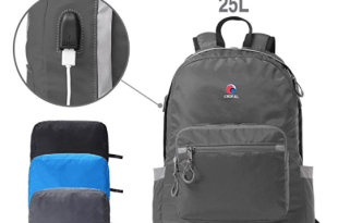 CROFULL Foldable Backpack with USB Charging Port for Hiking and Traveling