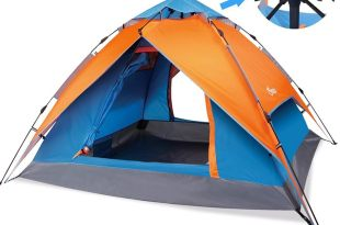 Yodo Easy Up Instant Tent for Family Camping, Orange/ Blue