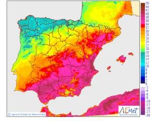 Forecast high temperatures for the Iberian Peninsula on Thursday. (AEMET)