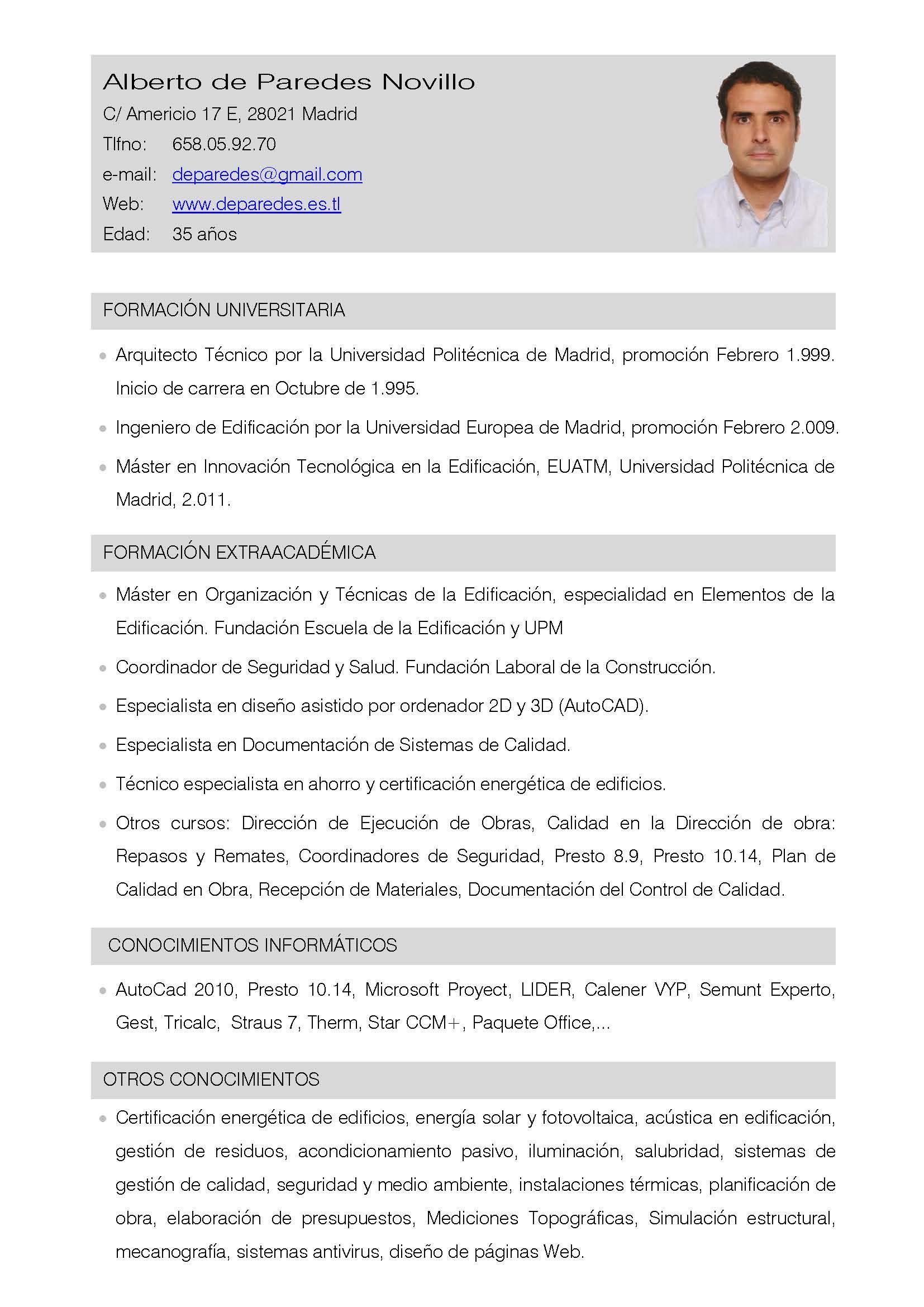 Ejemplos De Curriculum Vitae Arquitecto Tecnico   Resume Pdf Download