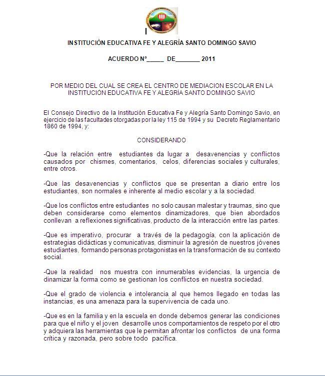 Gestores en convivencia y paz escolar Santo Domingo Savio - Acuerdo