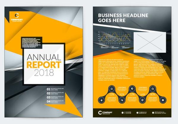 Black with yellow comany flyer and cover brochure template vector 04 - black flyer template